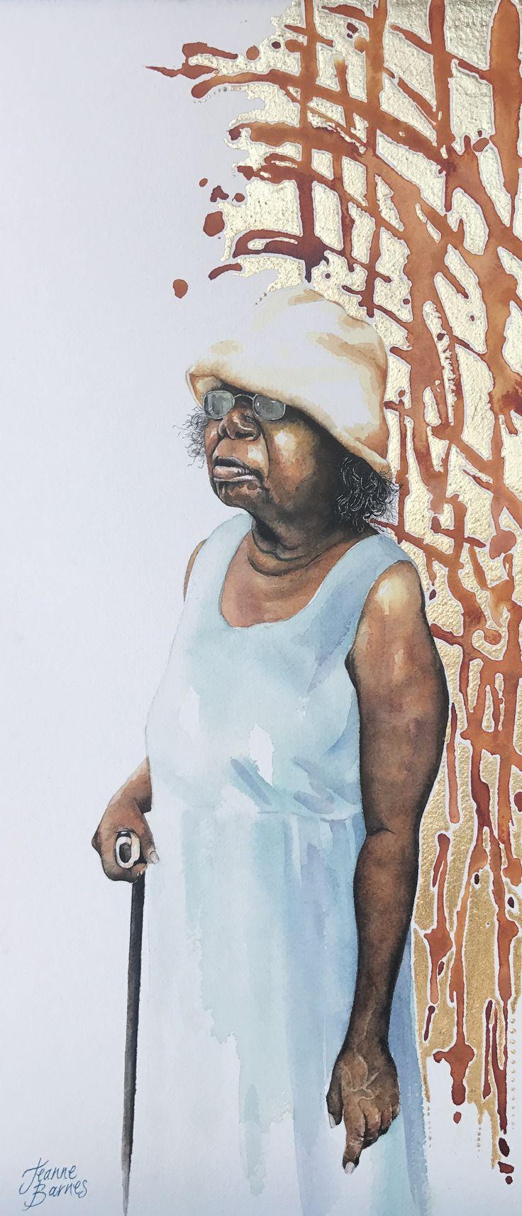 """Queenie"" watercolour on paper by Jeanne Barnes.  Sold"