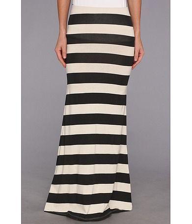 Black & White Striped Maxi Skirt | Falda larga a rayas