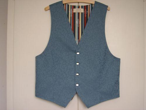 Blue Cotton  Brocade Mens Waistcoat 40 - 42