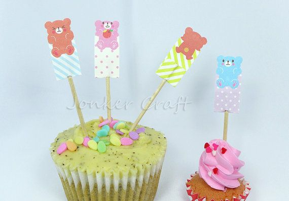 DIY Teddy Bear Cupcake Toppers for Baby Shower