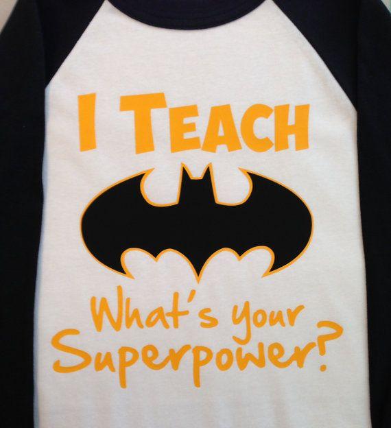 I Teach... What's your Superpower Baseball T Shirt by TeacherTops, $16.00
