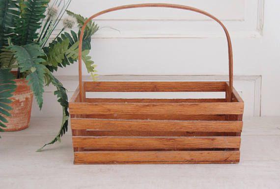 Wood Storage Basket, Rustic Wood Basket, Wooden Tote, Primitive Wood Basket, Handled Wood Basket, Wood Slat Basket, Rustic basket