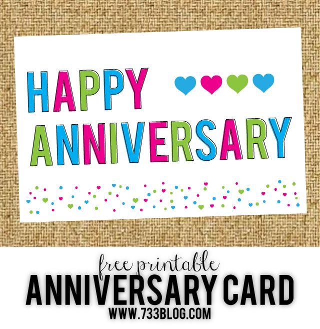 Free Printable Anniversary Cards - seven thirty three