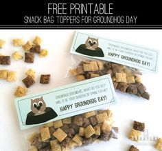 Squatles: Free Printable Groundhog Day Snack Bag Topper