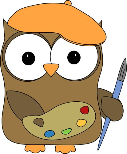 Owl French Artist Painter Clip Art Image - owl wearing a french artist ...