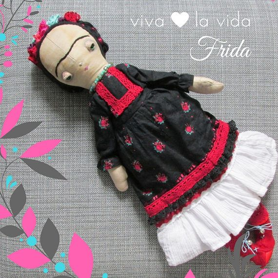 Frida Kahlo one of a kind, handmade collection cloth doll