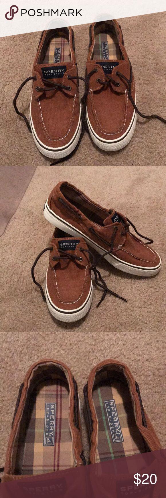 Sperry Top-Sider shoes Sperry Top-sider shoes. Brown corduroy with dark brown shoe strings. Barely worn. Sperry Top-Sider Shoes Flats & Loafers