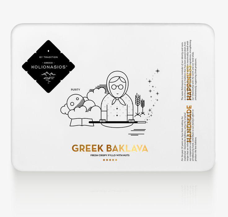Kolionasios   the greek baklavas. Re-branding, design, packaging to a creative agency: luminous design group  http://www.lovelution-wdd.gr/2015/09/kolionasios-greek-baklavas.html