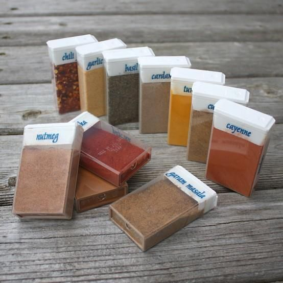Repurposed TicTac Boxes for Travel Spices on camping trips :)  ~Frisky