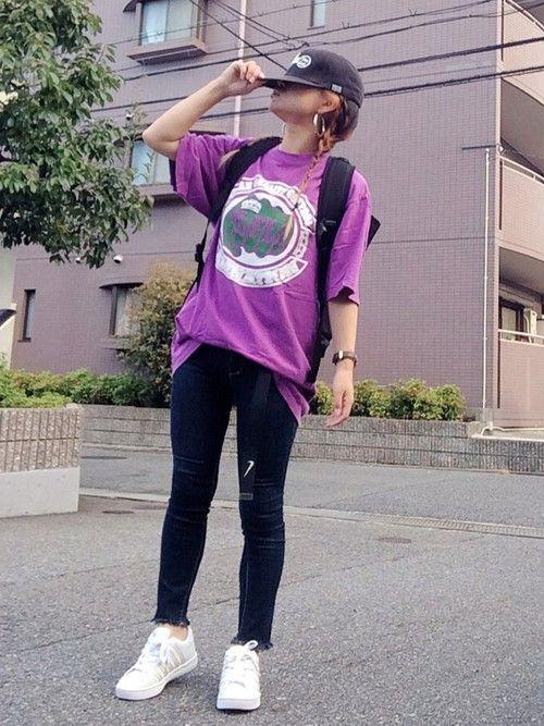 紫のデッカいTシャツが 着たかったん♡コーデ‼︎ パープルTシャツが主役に したかったから 他はシ