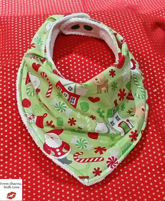 It's nearlu Christmas! Check out this cute bib on Etsy!  https://www.etsy.com/au/listing/251706113/christmas-bandana-bib-dribble-bib-santa