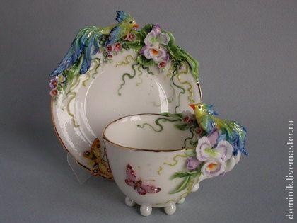 """Сервизы, чайные пары ручной работы. Ярмарка Мастеров - ручная работа """"Синие птицы"""" чайная пара. Handmade."""