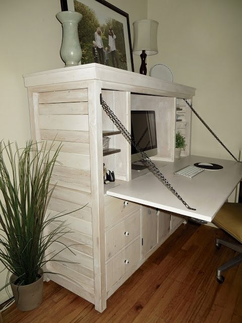 The Project Lady: Amazing piece of furniture.  It's beautiful and super functional!  It holds all your ugly computer/printer/office stuff and then when you're done working you close it all away and you're left with a beautiful piece of furniture to look at instead of ugly office supplies.  Love it!  She sells the building plans.