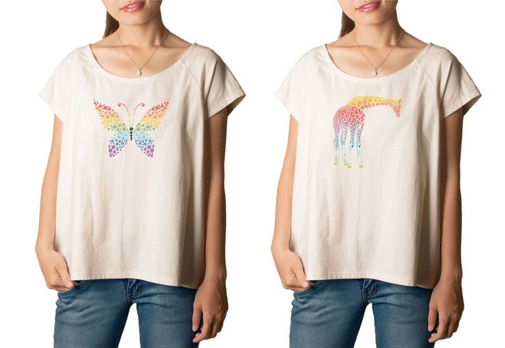 Vietsbay Women'S Abstract Rainbow Animals Printed Cotton T-Shirt  Tee Wts_01