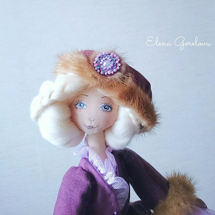Портрет. Блондинка. Кукла. Сиреневый фиолетовый лиловый. Шляпка для куклы. Куклы Елены Гореловой.