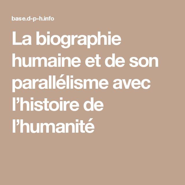 La biographie humaine et de son parallélisme avec l'histoire de l'humanité
