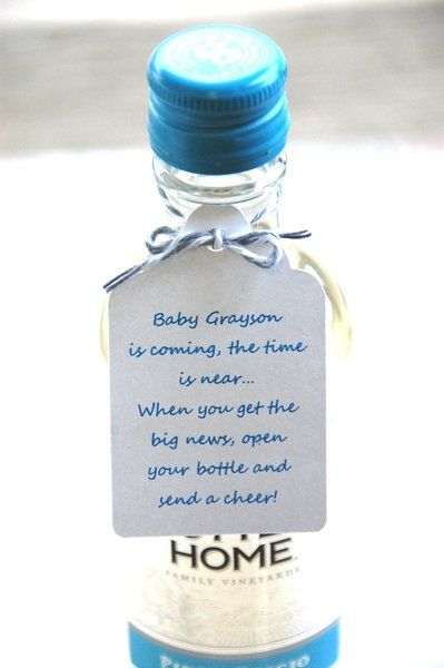 Baby is coming the time is near when you get the big news open your bottle and send a cheer ~ Mini Wine Bottle Thank You ~ Baby Shower Booze Thank You Gift Tags ~ Baby Blue for a Boy