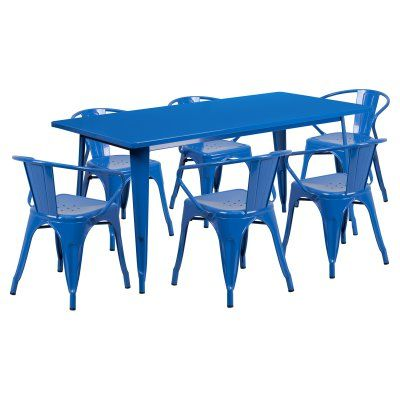 Flash Furniture 31.5 x 63 in. Rectangular Metal Indoor-Outdoor Table Set with 6 Arm Chairs Blue - ET-CT005-6-70-BL-GG