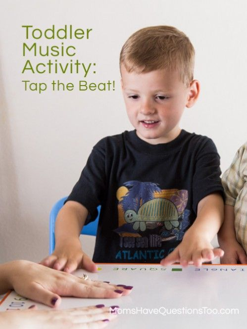 Toddler Music Activities Tap the Beat plus four other music activities for toddlers and preschoolers. Also a great list of materials for music activities: scarves, ribbon wands, bean bags, and more!