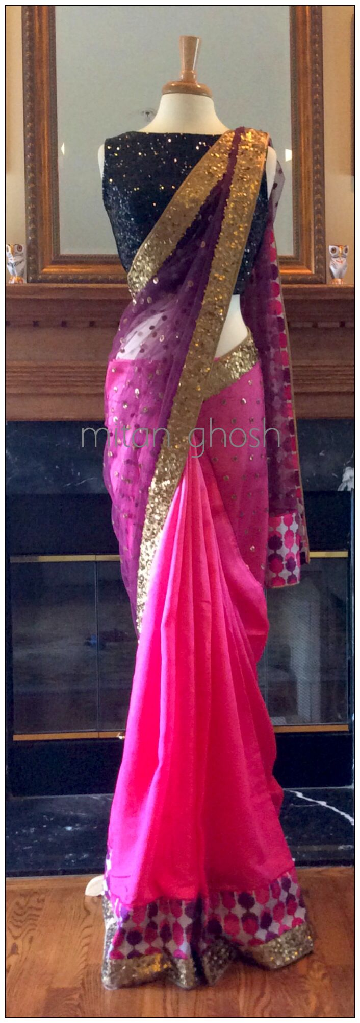 Pink&black silk saree