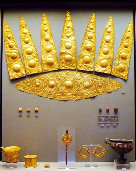 "Mycenae - rich in gold.  ""Grave of the Women"", Grave Circle A, Mycenae (1600-1500 BC) -   National Archaeological Museum, Athens."