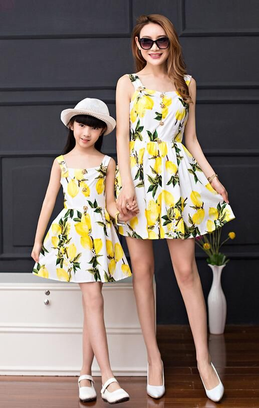 2017 Brand dress for mother and daughter dresses summer clothes family look women big Girls Casual dress holiday Bohemian lemon