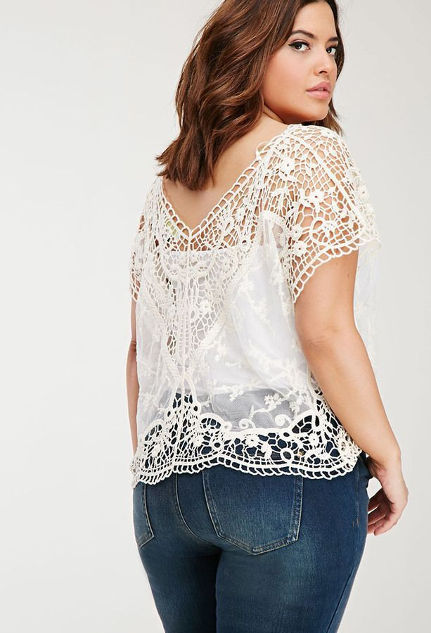 Plus Size FOREVER 21+ Mesh-Paneled Crochet Top