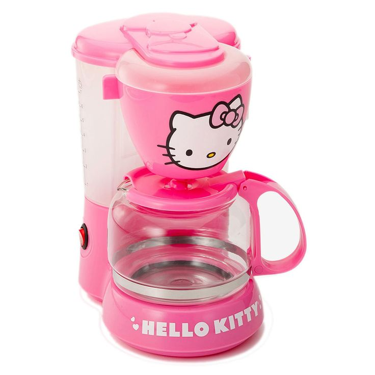 Hello Kitty Coffee Maker Now you can enjoy a breakfast brew with your favorite cartoon cat, Hello Kitty®! This cute Coffee Maker features a powerful 550W heating element, a 5-cup water capacity and an