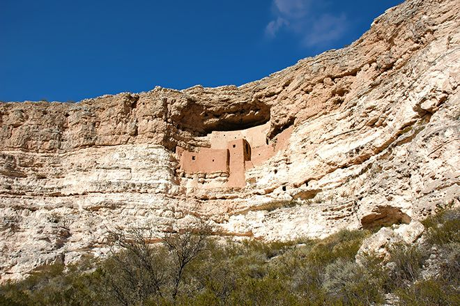 Hidden in the Mesa Verde hills, about 26 miles south of Sedona, are the ancient cliff dwellings of Montezuma Castle National Monument.