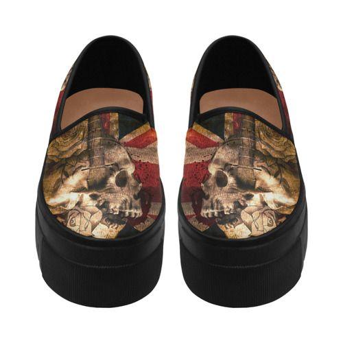 Grunge Skull and British Flag Selene Deep Mouth Women Shoes (Model 311)
