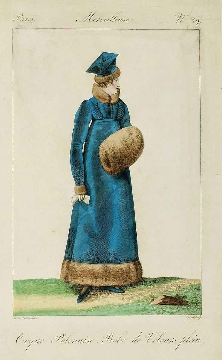Incroyables et Merveilleuses de 1814, Toque Polonaise, Robe de Velours plein.