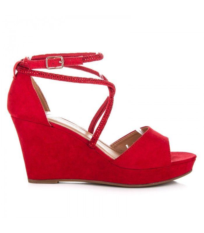 Semišové topánky na kline s ozdobami LBS2806R