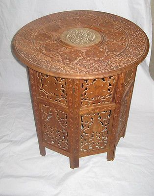 Vintage Hand Carved Wood Table Ornate Octagon Folding Maple Leaf Design  Unusual