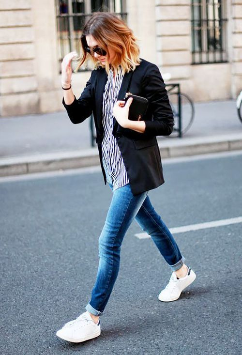 black blazer, striped shirt, cuffed jeans, and sneakers