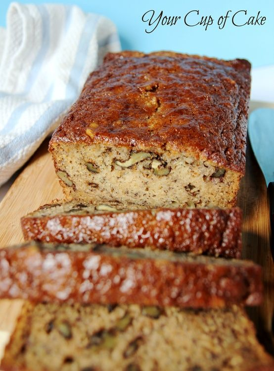 Ingredients: 1 1/4 cup ripe bananas, mashed 1 teaspoon lemon juice 1 3/4 cup flour 1 cup sugar 1 1/2 teaspoons baking soda 1/2 teaspoon salt 1/2 cup brown sugar, packed 2 eggs 1/3 cup buttermilk 1/4 cup oil 1/4 cup apple sauce 2 teaspoons vanilla extract 1 cup chopped walnuts or choc