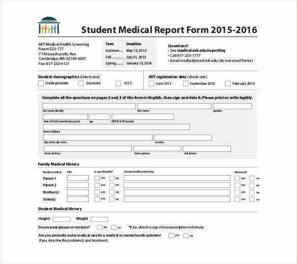 Sample Health History Form New 9 Medical Report Templates Free