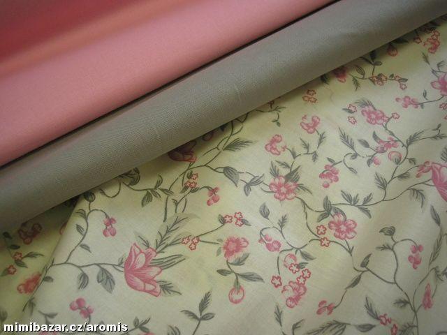 LÁTKA KYTIČKY RŮŽOVÁ ŠEDÁ   50 cm kytičky, 50 cm růžová