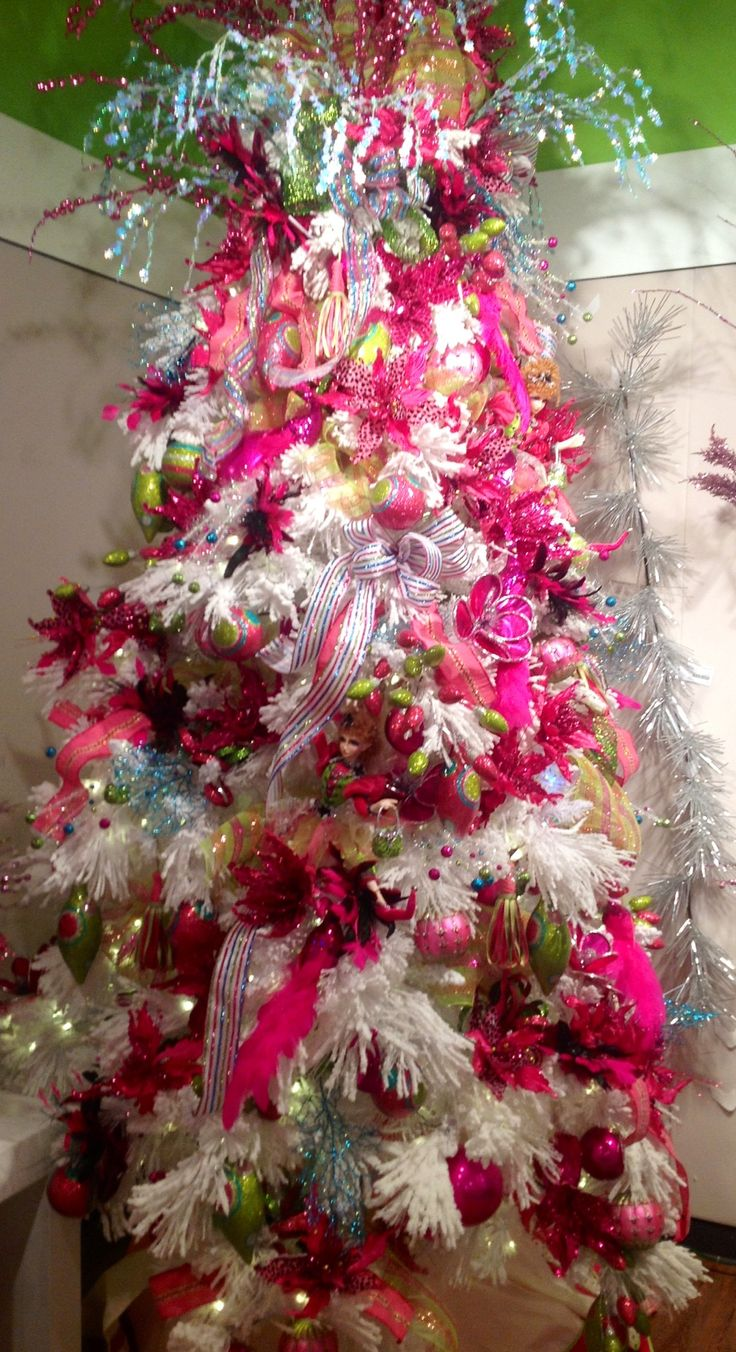 Hot pink christmas decorations - Christmas Tree White Branches Decorated In Hot Pink With Colorful Accents