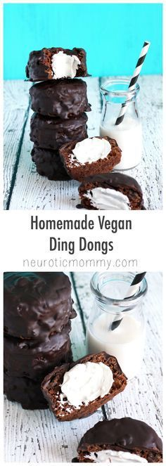 Outstanding Homemade Vegan Ding Dongs - Chocolate cakes with a cream filling and a dark chocolate coating. Not only are they vegan, they're good for you. http://NeuroticMommy.com #vegan #healthy #cakes