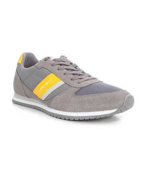 Zapatillas Hackett. Modelo Street. Color gris. Suela blanca con detallas en azul y rojo. Cordones en azul. Logo de la marca en el lateral. #zapatillas #deportivas #hackett #streetstyle