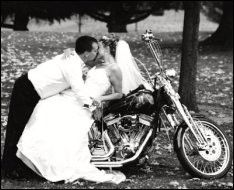 Motorcycle meets Wedding Day. this is a must on our wedding day!