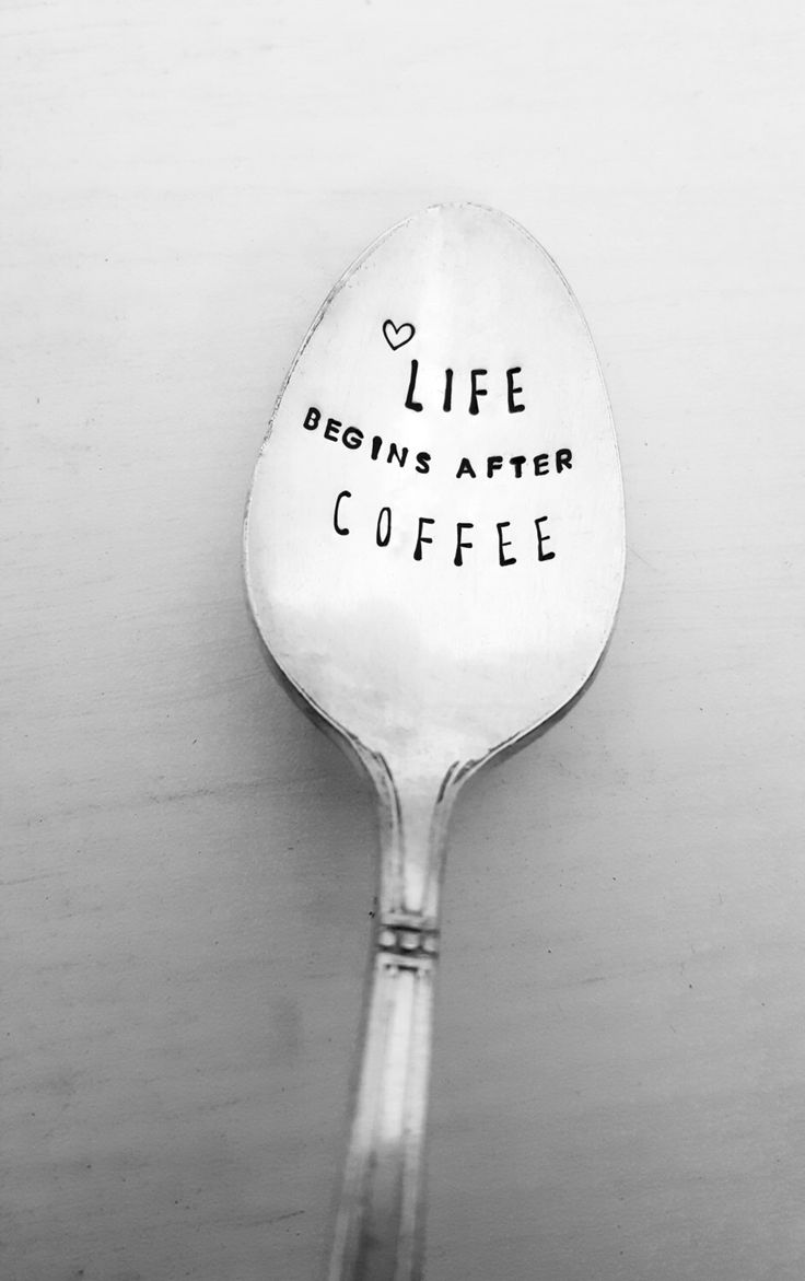 Life Begins After Coffee Spoon, Coffee Spoon, Hand Stamped Spoon, Vintage, Silverplate, Gift, Present, Custom Spoon, Personalized Spoon by SweetMintHandmade on Etsy https://www.etsy.com/listing/489662895/life-begins-after-coffee-spoon-coffee