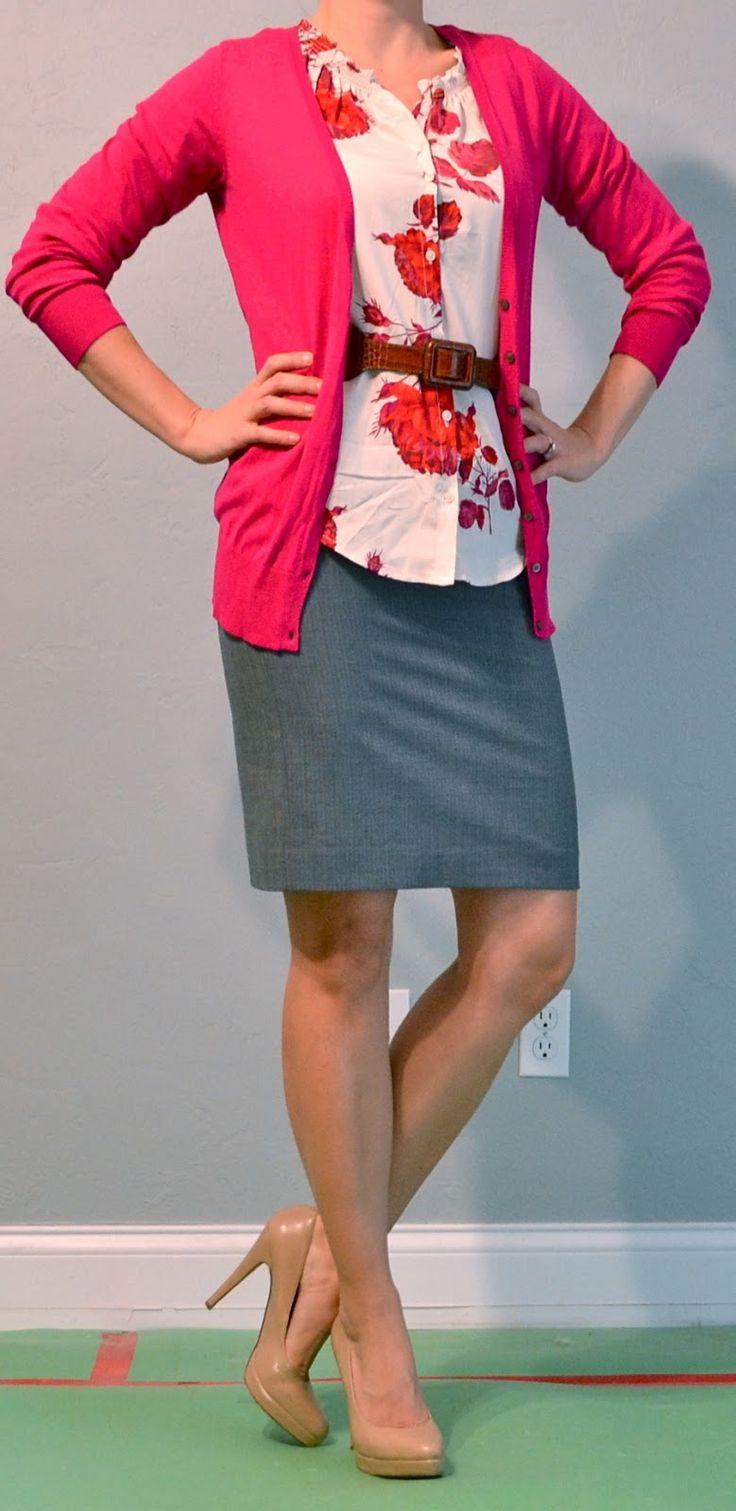 Grey Pencil Skirt Hot Pink Cardi I D Wear This