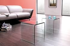 For the home theatre room. Snack tables.  *MG* 2 PCS Clear Glass side/coffee table