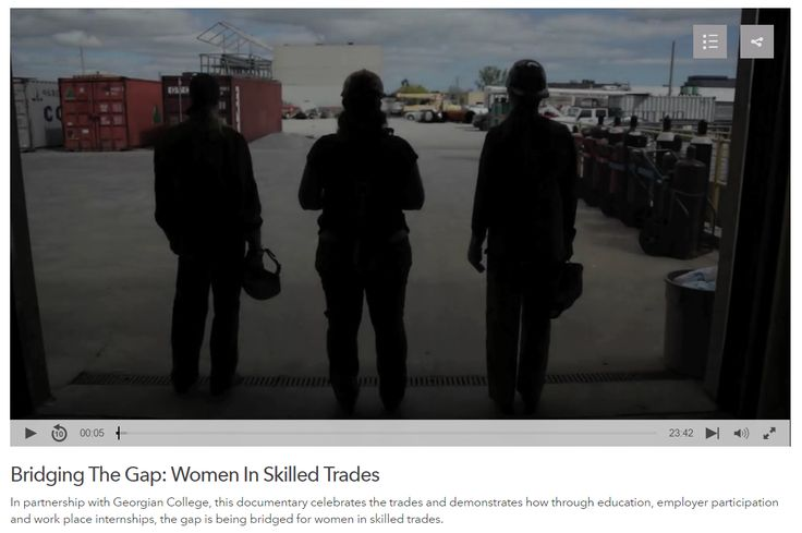 Video: Bridging The Gap: Women In Skilled Trades. In partnership with Georgian College, this documentary celebrates the trades and demonstrates how through education, employer participation and work place internships, the gap is being bridged for women in skilled trades.