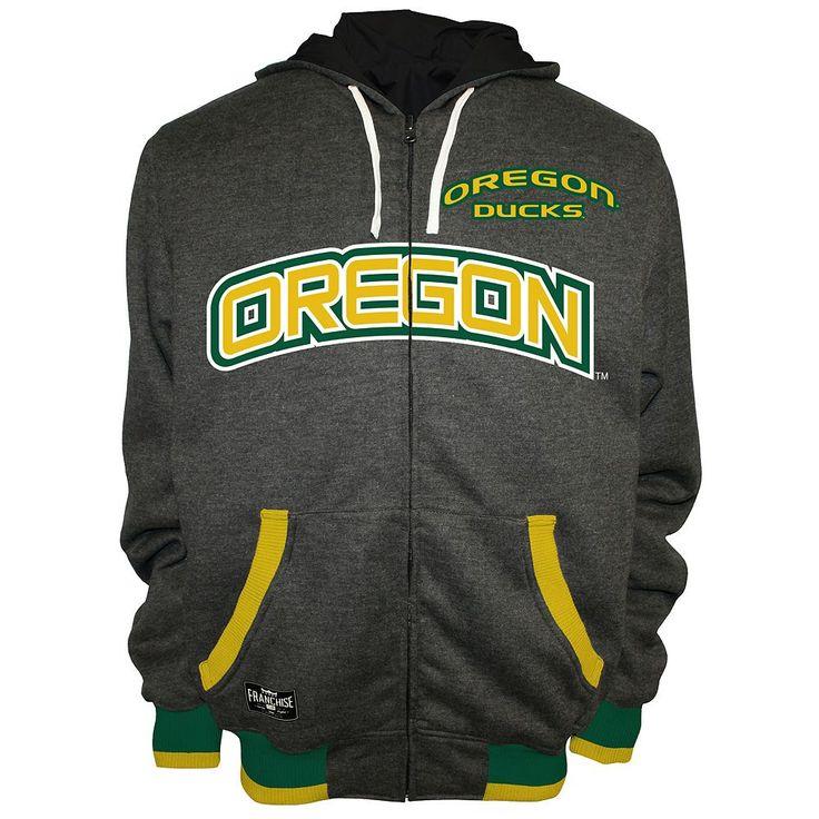 Men's Franchise Club Oregon Ducks Power Play Reversible Hooded Jacket, Size: Medium, Grey