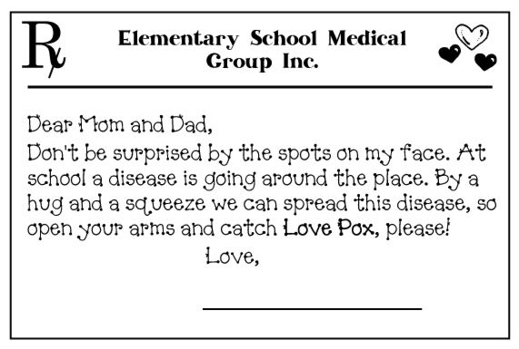 "Love Pox-- A fun activity to do with your students on Valentine's Day. Send them home with heart stickers on their face (aka Love Pox) and a note for the parents about the Love Pox. Students can spread the ""disease"" by hugging and loving their family! When they give someone a hug, then they give them a sticker from their face... and that is how you spread Love PoX! My students loved this activity! :)"