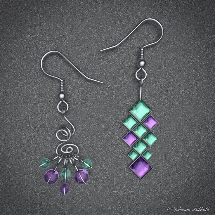 3D earrings. Made with Blender 3D. © Johanna Pakkala. – 3D jewellery, 3D modeling