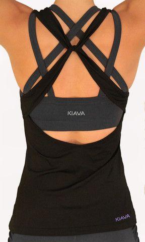 black criss cross knotty top with charcoal grey criss cross endurance bra underneath by kiava clothing.