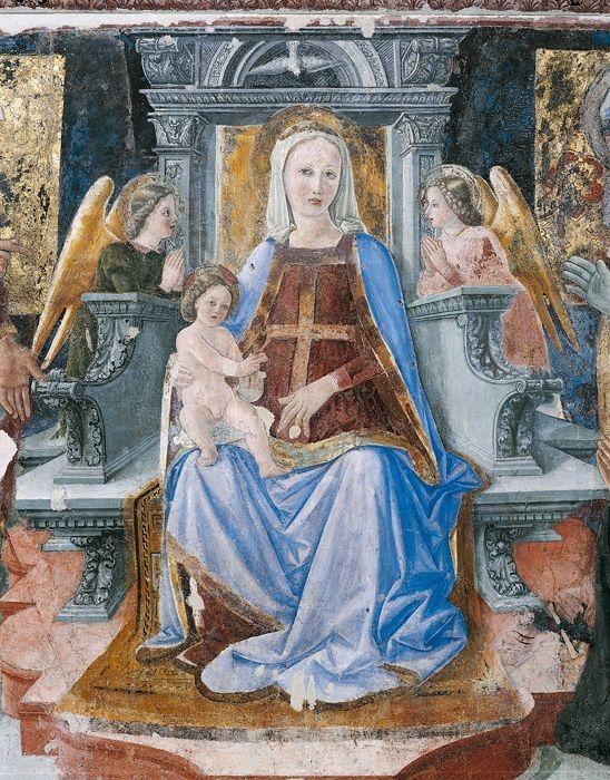 Giovanni Angelo d'Antonio - Madonna col Bambino tra i santi e il donatore (particolare) - 1473-1475 ca. - affresco strappato - Camerino, Pinacoteca civica